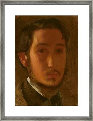 Self Portrait With White Collar Framed Print by Mountain Dreams