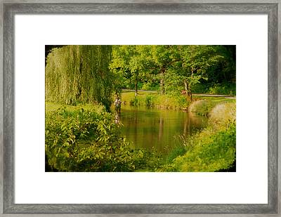 Spruce Creek Great Fishing In Pa Framed Print by Heinz G Mielke