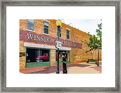 Standing On The Corner - Winslow Arizona Framed Print by Jon Berghoff