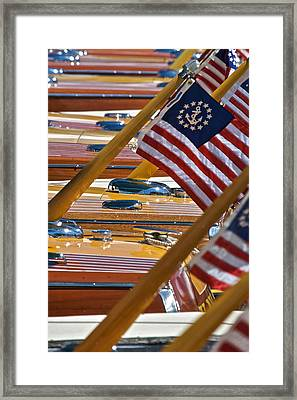Stars And Stripes On The Water Framed Print by Steven Lapkin