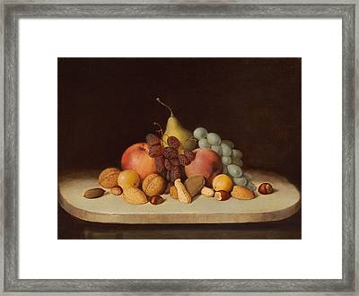Still Life With Fruit And Nuts Framed Print by Robert Seldon Duncanson