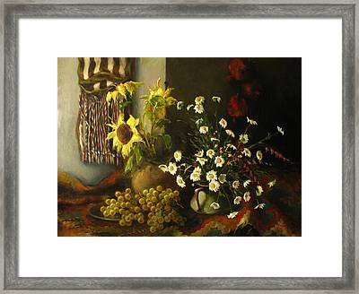 Still-life With Sunflowers Framed Print by Tigran Ghulyan