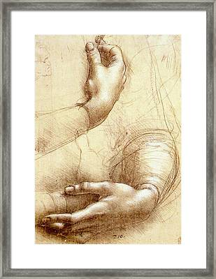 Study Of Hands Framed Print by Leonardo da Vinci