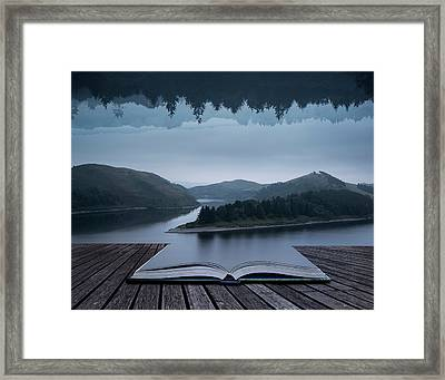 Stunning Impossible Puzzling Conceptual Landscape Image Of Lake  Framed Print by Matthew Gibson
