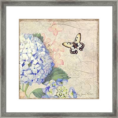 Summer Memories - Blue Hydrangea N Butterflies Framed Print by Audrey Jeanne Roberts