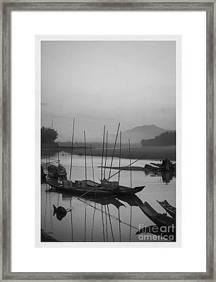 sunset at Mae Khong river Framed Print by Setsiri Silapasuwanchai