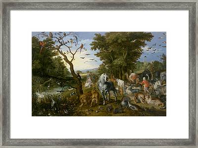 The Entry Of The Animals Into Noah's Ark Framed Print by Jan Brueghel the Elder