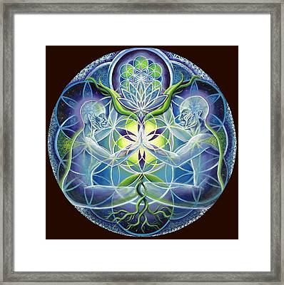 The Flowering Of Divine Unification Framed Print by Morgan  Mandala Manley