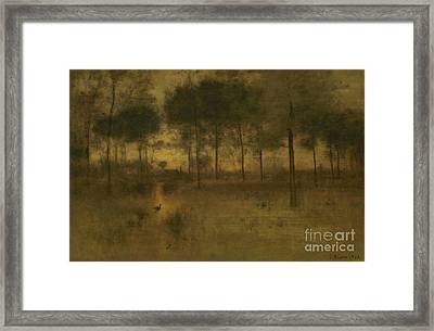The Home Of The Heron Framed Print by George Inness