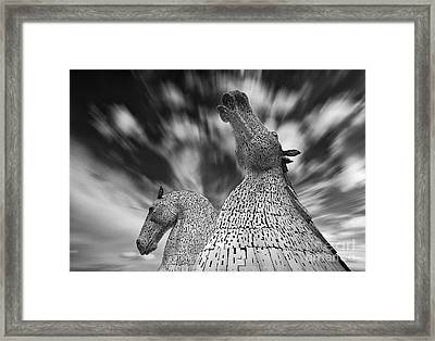 The Kelpies At Falkirk Framed Print by Janet Burdon