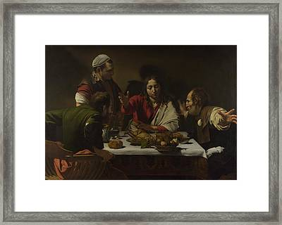 The Supper At Emmaus Framed Print by Michelangelo Merisi da Caravaggio