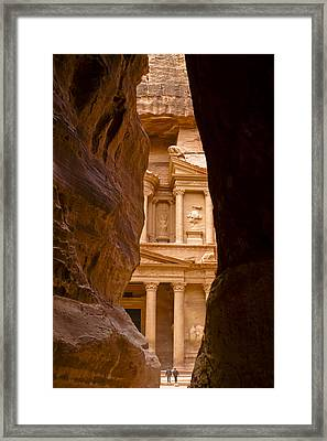 The Treasury Of Petra Framed Print by Michele Burgess