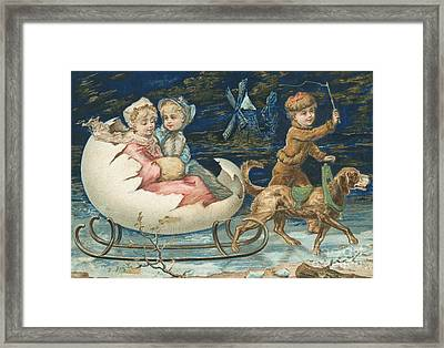 Victorian Christmas Card Framed Print by English School