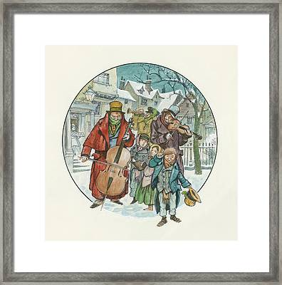 Victorian Christmas Scene Framed Print by Peter Jackson