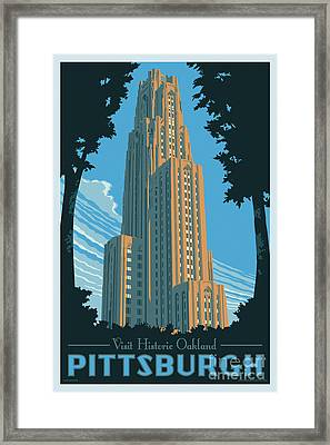 Vintage Style Pittsburgh Travel Poster Framed Print by Jim Zahniser