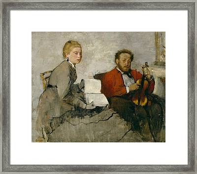 Violinist And Young Woman Framed Print by Edgar Degas