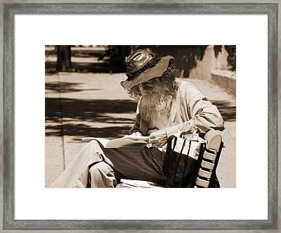 Walt Reading Framed Print by Robert Knight