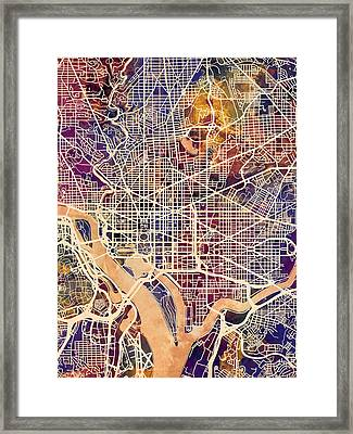 Washington Dc Street Map Framed Print by Michael Tompsett