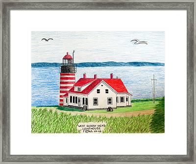 West Quoddy Head Lighthouse Framed Print by Frederic Kohli