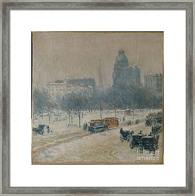 Winter In Union Square Framed Print by Celestial Images
