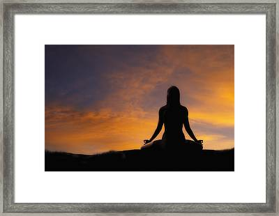 Woman Practicing Yoga Framed Print by Utah Images