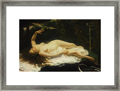 Woman With A Parrot Framed Print by Gustave Courbet