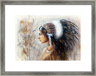 Young Indian Woman Wearing A Big Feather Headdress A Profile Portrait On Structured Abstract Backgr Framed Print by Jozef Klopacka