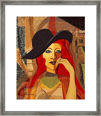200 - Woman With Black Hat .... Framed Print by Irmgard Schoendorf Welch