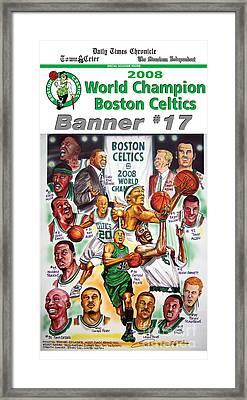2008 Boston Celtics Team Poster Framed Print by Dave Olsen