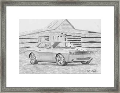 2008 Dodge Challenger Srt8 Classic Car Art Print Framed Print by Stephen Rooks
