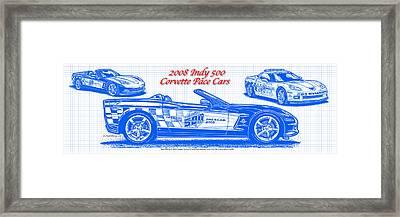 2008 Indy 500 Corvette Pace Car Blueprint Series Framed Print by K Scott Teeters