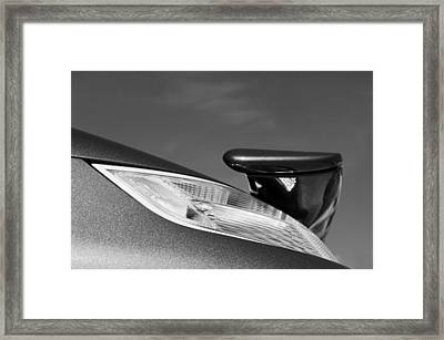 2008 Porsche Turbo Cabriolet Tail Fin Black And White Framed Print by Jill Reger