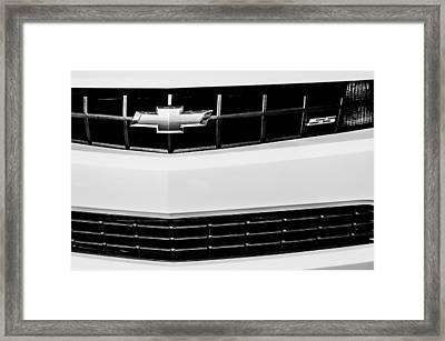 2010 Chevrolet Nickey Camaro Ss Grille Emblem -0078bw Framed Print by Jill Reger