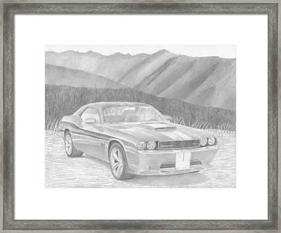 2011 Dodge Challenger Srt8 Classic Car Drawing Framed Print by Stephen Rooks