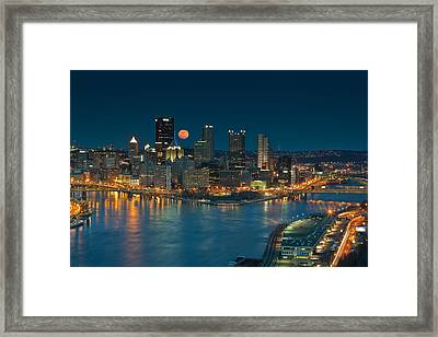 2011 Supermoon Over Pittsburgh Framed Print by Jennifer Grover