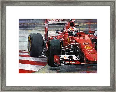 2015 Hungary Gp Ferrari Sf15t Vettel Winner Framed Print by Yuriy Shevchuk