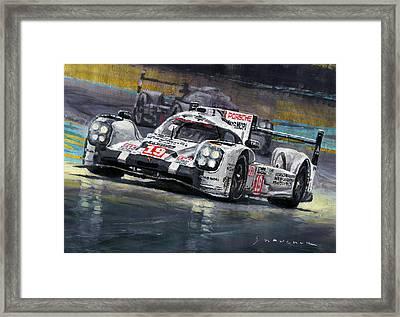 2015 Le Mans 24 Lmp1 Winner Porsche 919 Hybrid Bamber Tandy Hulkenberg Framed Print by Yuriy Shevchuk