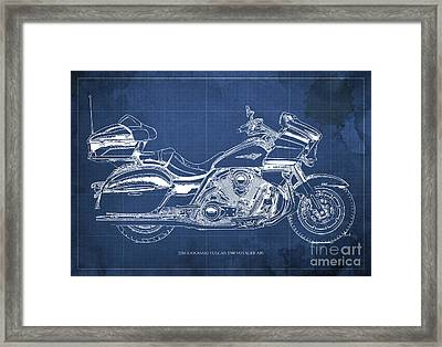 2016 Kawasaki Vulcan 1700 Voyager Abs Blueprint Blue Background Framed Print by Pablo Franchi