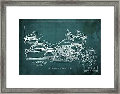 2016 Kawasaki Vulcan 1700 Voyager Blueprint Framed Print by Pablo Franchi