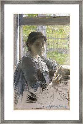 At The Window Framed Print by William Merritt