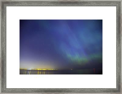 Aurora Borealis Northern Lights Over City Of Tallinn North Europe Framed Print by Sandra Rugina