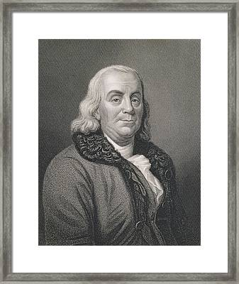 Benjamin Franklin Framed Print by Joseph Siffred Duplessis