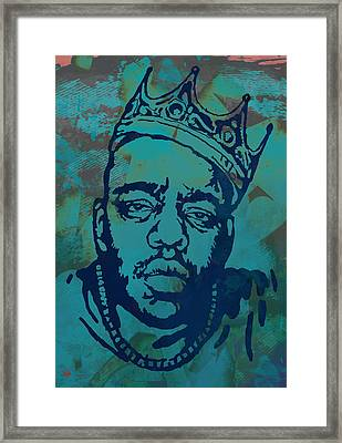 Biggie Smalls Modern Etching Art  Poster Framed Print by Kim Wang