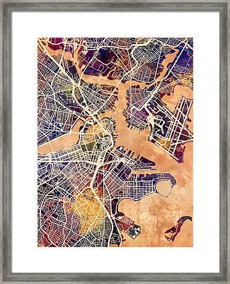 Boston Massachusetts Street Map Framed Print by Michael Tompsett