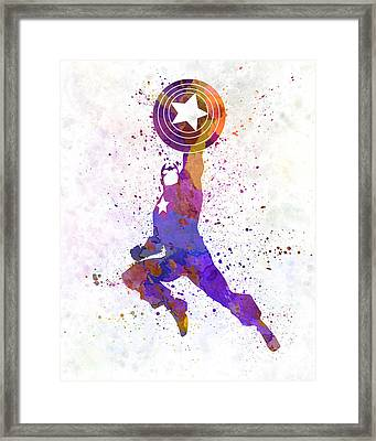 Captain America In Watercolor Framed Print by Pablo Romero