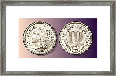 3 Cent Nickel Framed Print by Greg Joens