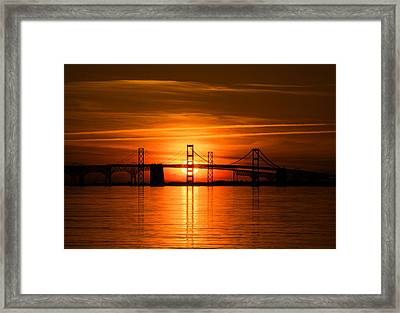 Chesapeake Bay Bridge Sunset Framed Print by Mark  Dignen