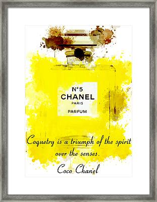 Chanel No 5 Motivational Inspirational Independent Quote 5 Framed Print by Diana Van