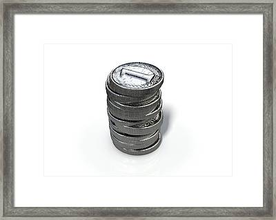 Coin Number One Stack Framed Print by Allan Swart