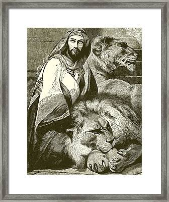 Daniel In The Lions Den Framed Print by English School